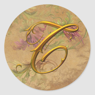 KRW Vintage Floral Gold T Monogram Wedding Seal