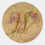 KRW Vintage Floral Gold W Monogram Wedding Seal Stickers