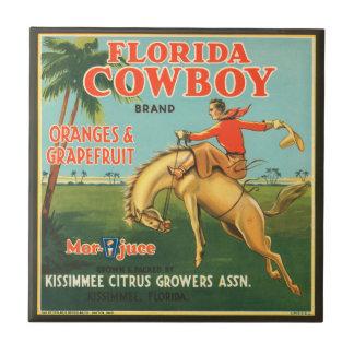 KRW Vintage Florida Cowboy Citrus Fruit Label Small Square Tile