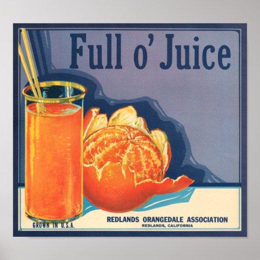 KRW Vintage Full o' Juice Orange Fruit Crate Label Print