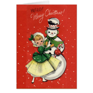 KRW Vintage Girl and Snowman Card - Customized