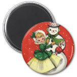 KRW Vintage Girl and Snowman Christmas Magnet