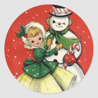 KRW Vintage Girl and Snowman Christmas Sticker