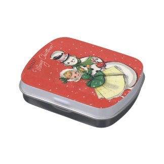 KRW Vintage Girl and Snowman Jelly Belly Candy Tin