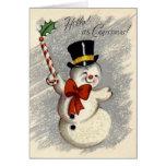 KRW Vintage Happy Snowman Christmas Card