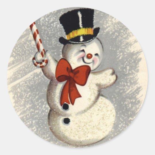 KRW Vintage Happy Snowman Christmas Sticker
