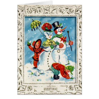KRW Vintage Holiday Children at Play Card