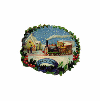 KRW Vintage Holiday Scene Sculpture Ornament Cut Out