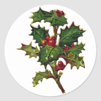 KRW Vintage Holly Design Christmas Sticker