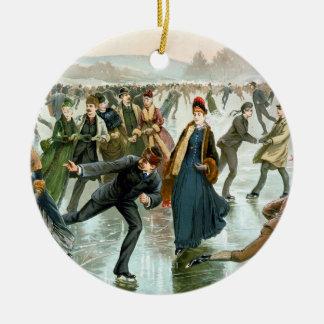 KRW Vintage Ice Skaters Christmas Ornament