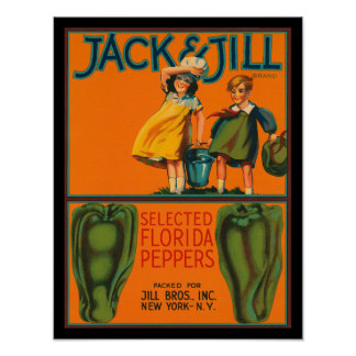 KRW Vintage Jack & Jill Peppers Crate Label Poster