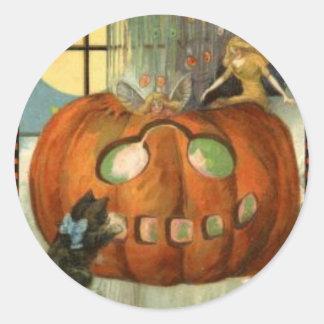 KRW Vintage Jack O Lantern Halloween Classic Round Sticker