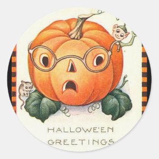 KRW Vintage Jack O Lantern Halloween Round Sticker