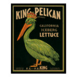 KRW Vintage King Pelican Lettuce Crate Label Poster