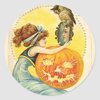KRW Vintage Lady and Jack O Lantern Halloween Stickers
