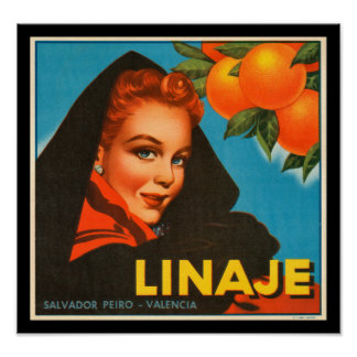 KRW Vintage Linaje Orange Fruit Crate Label Poster