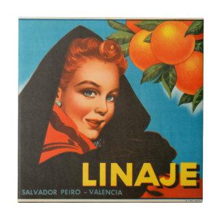 KRW Vintage Linaje Orange Fruit Crate Label Small Square Tile