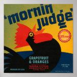 KRW Vintage Morning Judge Rooster Grapefruit Label Print