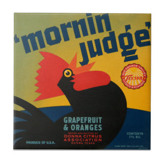 KRW Vintage Morning Judge Rooster Grapefruit Label Small Square Tile