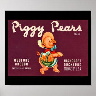 KRW Vintage Piggy Pears Fruit Crate Label Print
