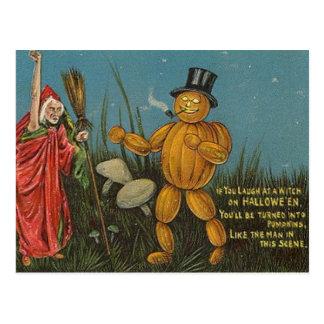 KRW Vintage Pumpkin Man Halloween Card Postcard