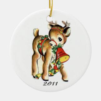 KRW Vintage Reindeer Dated Christmas Ornament