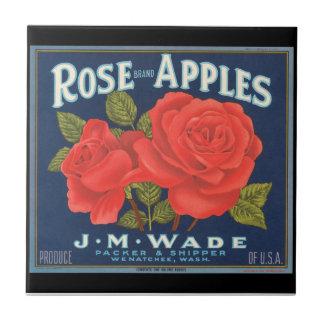 KRW Vintage Rose Apples Fruit Crate Label Small Square Tile