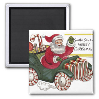 KRW Vintage Santa and Car Christmas Magnet