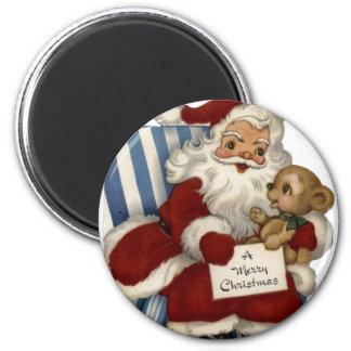 KRW Vintage Santa and Teddy Christmas Magnet