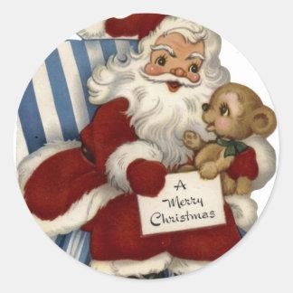 KRW Vintage Santa and Teddy Christmas Sticker
