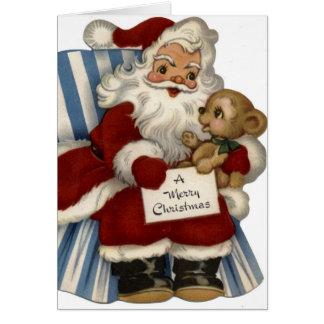 KRW Vintage Santa and Teddy Holiday Card