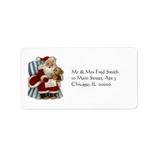 KRW Vintage Santa and Teddy Xmas Address Label