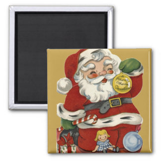 KRW Vintage Santa and Toys Christmas Magnet