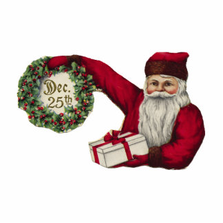 KRW Vintage Santa and Wreath Holiday Ornament Photo Sculptures