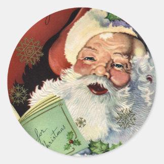 KRW Vintage Santa Claus Christmas Round Sticker
