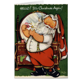 KRW Vintage Santa Prepares Card - Customized