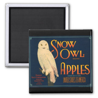 KRW Vintage Snow Owl Apples Fruit Crate Label Magn Square Magnet