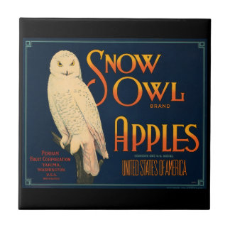KRW Vintage Snow Owl Apples Fruit Crate Label Tile