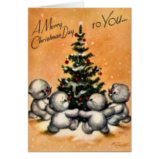 KRW Vintage Snowman Family Card - Customized
