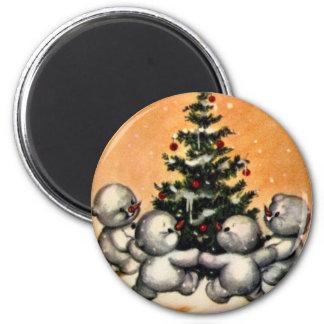 KRW Vintage Snowman Family Christmas Magnet