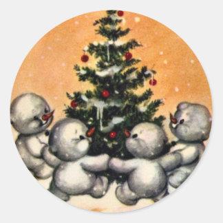 KRW Vintage Snowman Family Christmas Sticker