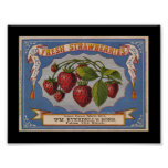 KRW Vintage Strawberry Fruit Crate Label Poster