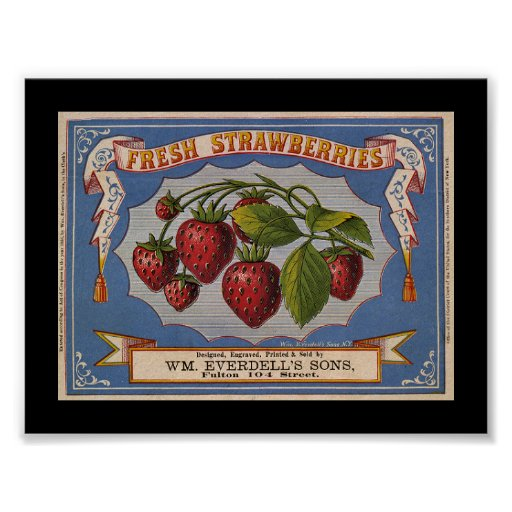 KRW Vintage Strawberry Fruit Crate Label Posters