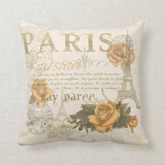 KRW Vintage Style Paris Roses and Eiffel Tower Cushion