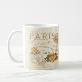 KRW Vintage Style Paris Roses and Eiffel Tower Mug