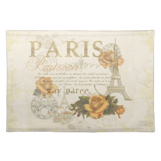 KRW Vintage Style Paris Roses and Eiffel Tower Place Mats