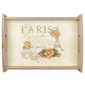 KRW Vintage Style Paris Roses Eiffel Tower Tray