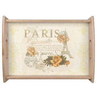 KRW Vintage Style Paris Roses Eiffel Tower Tray Serving Platters
