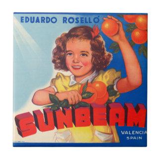 KRW Vintage Sunbeam Orange Crate Label Magnet Small Square Tile