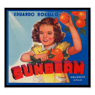 KRW Vintage Sunbeam Orange Fruit Crate Label Poster